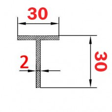 Тавр алюминиевый 30х30х2 AS