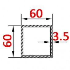 Труба алюминиевая 60х60х3.5 б.п. квадратная
