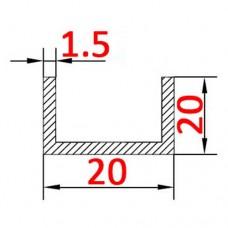 Швеллер алюминиевый 20х20х1,5 б.п.