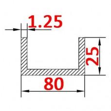 Швеллер алюминиевый 80х25х1.25 AS