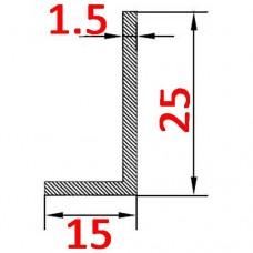 Уголок алюминиевый 25х15х1.5 AS