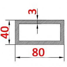 Труба алюминиевая 80х40х3 б.п. прямоугольная