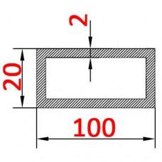 Труба алюминиевая 100х20х2 б.п. прямоугольная
