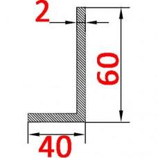 Уголок алюминиевый 60х40х2 б.п.