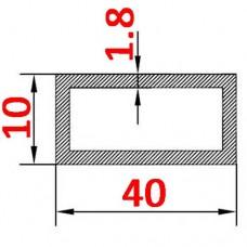 Труба алюминиевая 40х10х1.8 б.п. прямоугольная