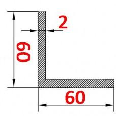 Уголок алюминиевый 60х60х2 б.п.