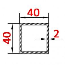 Труба алюминиевая 40х40х2 AS квадратная