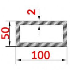 Труба алюминиевая 100х50х2 б.п. прямоугольная