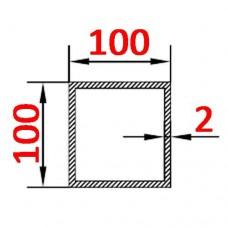 Труба алюминиевая 100х100х2 б.п. квадратная