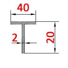 Тавр алюминиевый 40х20х2 AS
