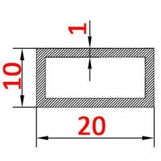 Труба алюмінієва 20х10х1 прямокутна