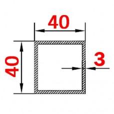 Труба алюминиевая 40х40х3 б.п. квадратная