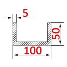 Швеллер алюминиевый 100х50х5 б.п.