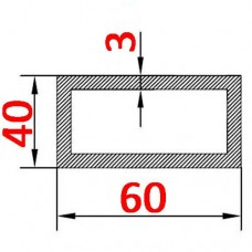 Труба алюминиевая 60х40х3 б.п. прямоугольная