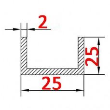 Швеллер алюминиевый 25х25х2 б.п.