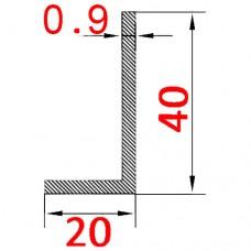 Уголок алюминиевый 40х20х0.9 AS