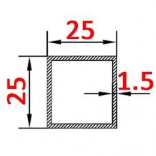 Труба алюминиевая 25х25х1.5 б.п. квадратная