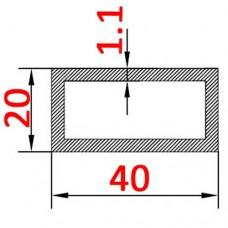 Труба алюминиевая 40х20х1.1 AS прямоугольная