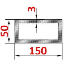 Труба алюминиевая 150х50х3 б.п. прямоугольная
