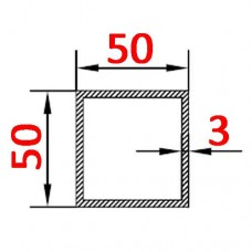 Труба алюминиевая 50х50х3 б.п. квадратная