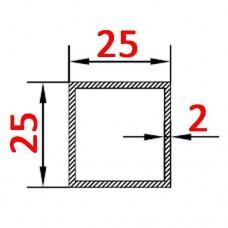 Труба алюминиевая 25х25х2 б.п. квадратная