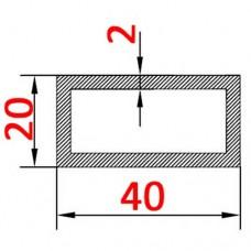 Труба алюминиевая 40х20х2 б.п. прямоугольная