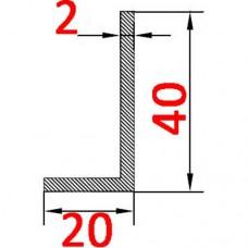 Уголок алюминиевый 40х20х2 б.п.