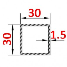 Труба алюминиевая 30х30х1.5 б.п. квадратная