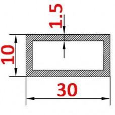 Труба алюминиевая 30х10х1.5 б.п. прямоугольная
