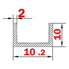 Швеллер алюминиевый 10.2х10х2 б.п.