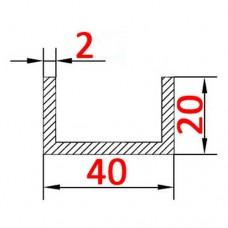 Швеллер алюминиевый 40х20х2 AS