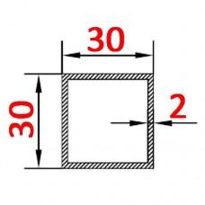 Труба алюминиевая 30х30х2 б.п. квадратная