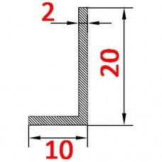 Уголок алюминиевый 20х10х2 б.п.