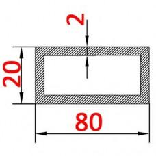Труба алюминиевая 80х20х2 AS. прямоугольная