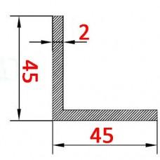 Уголок алюминиевый 45х45х2 б.п.