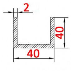 Швеллер алюминиевый 40х40х2 б.п.