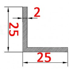 Уголок алюминиевый 25х25х2 б.п.