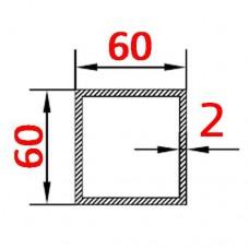 Труба алюминиевая 60х60х 2 AS квадратная