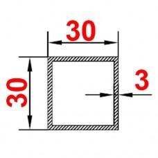Труба алюминиевая 30х30х3 б.п. квадратная
