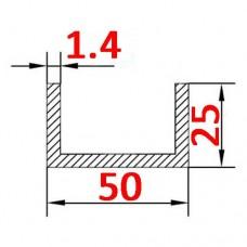Швеллер алюминиевый 50х25х1.4 AS