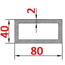 Труба алюминиевая 80х40х2 б.п. прямоугольная
