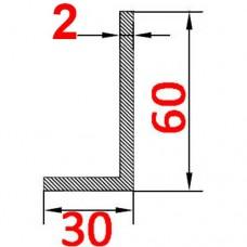 Уголок алюминиевый 60х30х2 б.п.