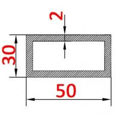 Труба алюминиевая 50х30х2 AS прямоугольная